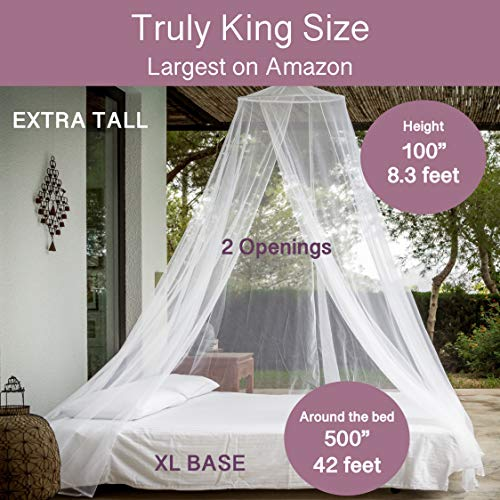 4 Corners Poster Bed Canopy for Girls Lotus Karen Princess Blue//White Bed Curtain Elegant Luxurious Bedroom Decorations 47 W 78 L80 H, Twin Double Layer Contrast Color Mosquito Net