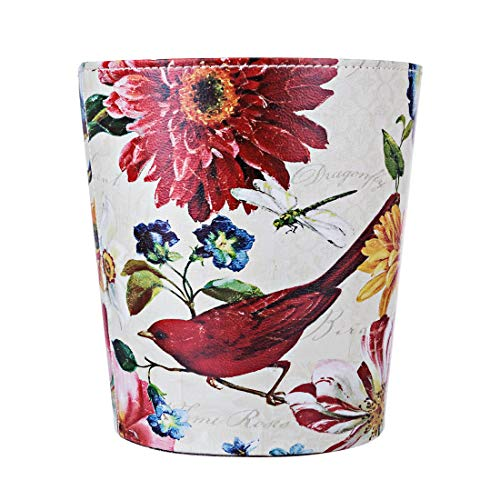 Lingxuinfo Retro Style Small Trash Can Wastebasket Decorative Trash Can Waste Paper Basket Waste Container Bin For Bathroom Bedroom Office And More 10l Capacity Red Bird A1tradersinc