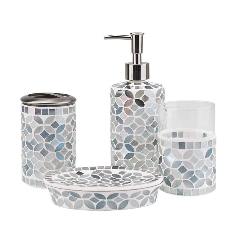 Ceramic Bathroom Accessory Set Bath Soap Dispenser Holder Dish Tumbler 4-Piece