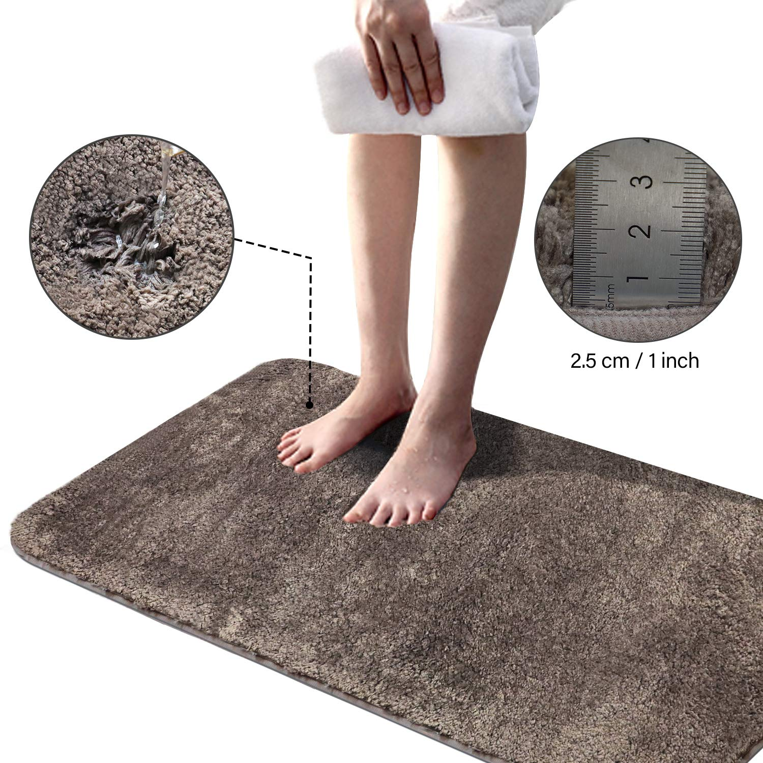 Soft Plush Bathroom Rug Bath Mat 20 X 32 Non Slip Microfiber Fluffy Shaggy Water Absorbent Bath Rug Carpet Machine Washable Rectangular Runner Area Rug Mats For Floor Kitchen Taupe Brown A1tradersinc